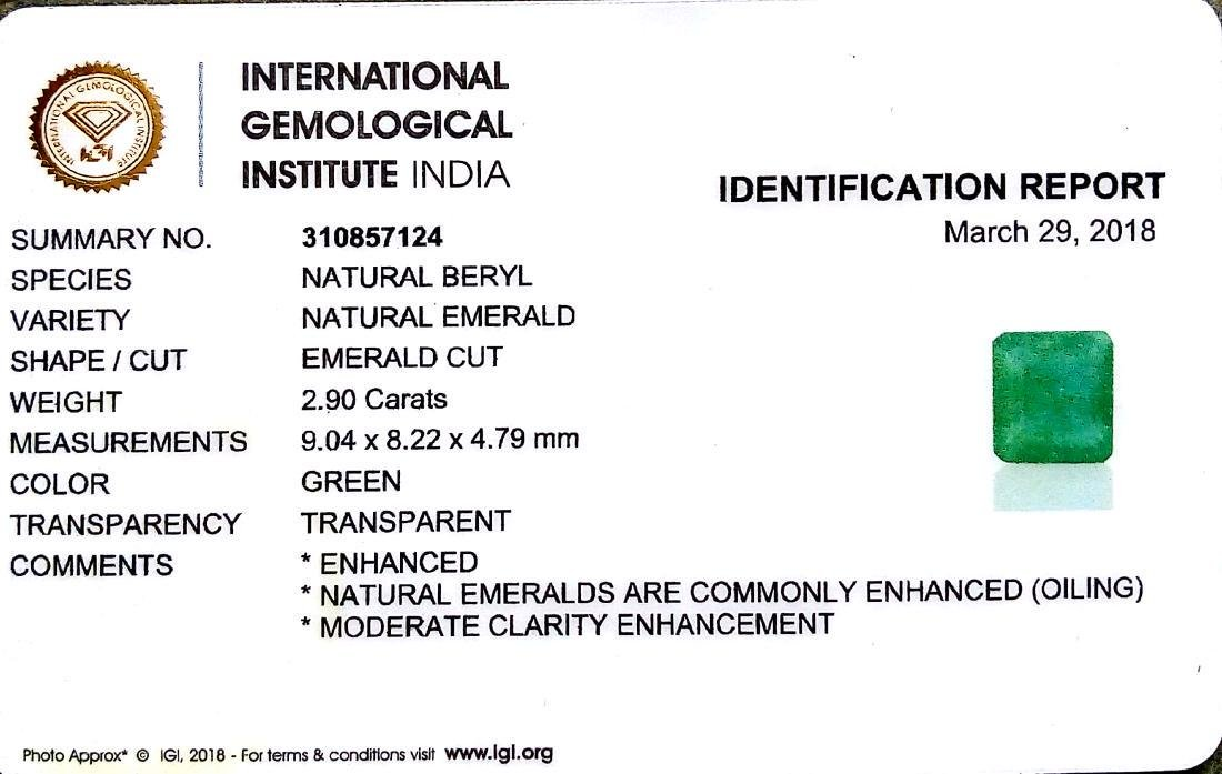 IGI Certified 2.90 Ct Genuine Zambian Emerald AAA++ - 4