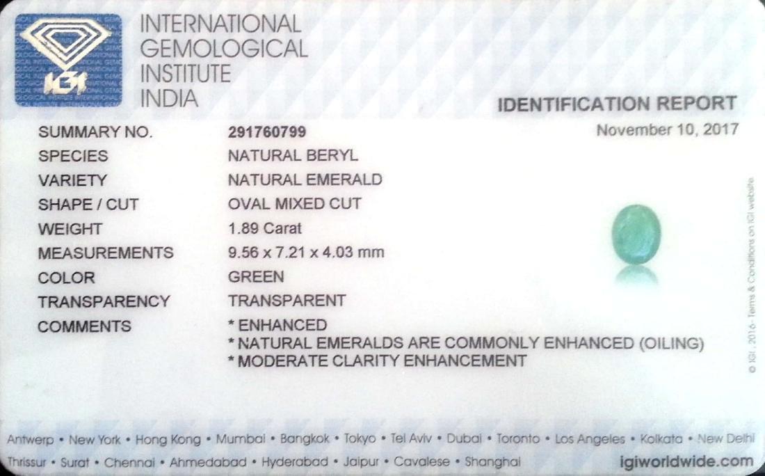 1.89 Ct IGI Certified Genuine Zambian Emerald Nice Oval - 4