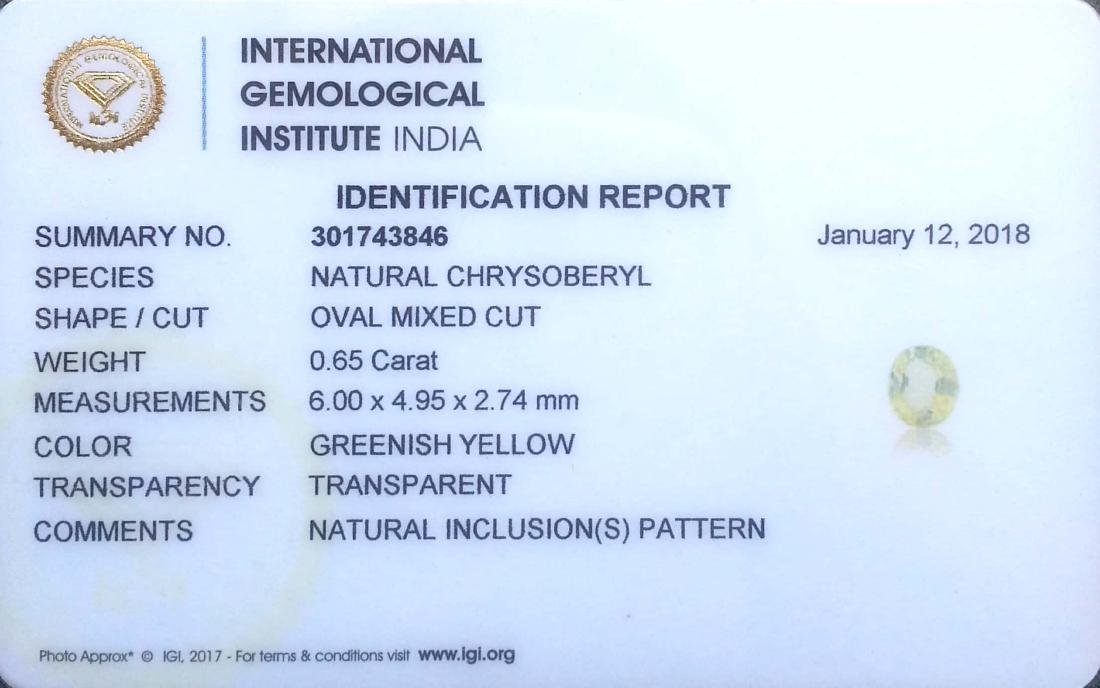 0.65 Ct Genuine IGI Certified Top Luster Chrysopberyl - 2