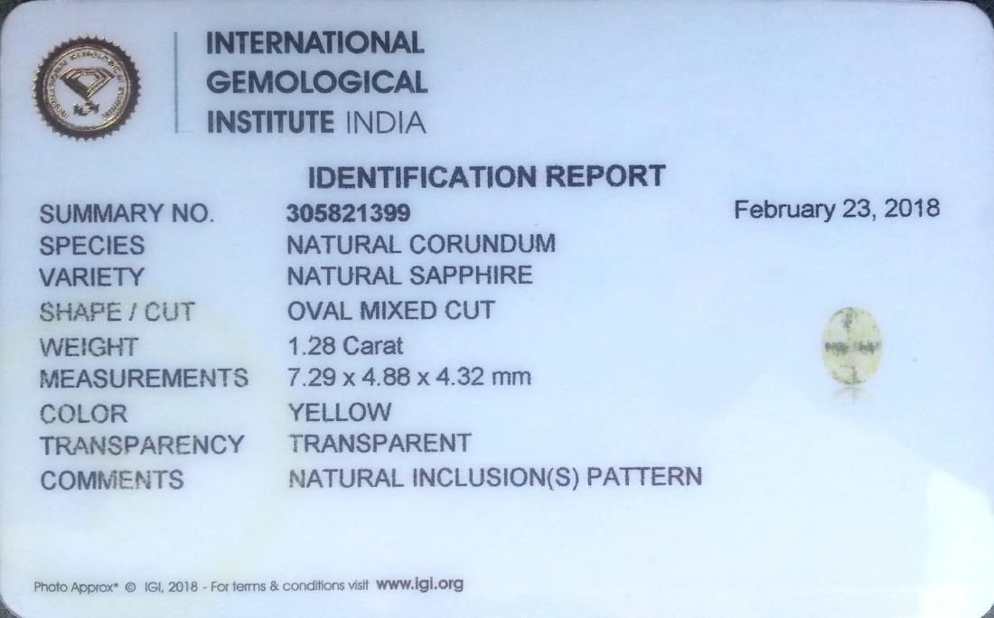 1.28 Ct Genuine IGI Certified Sri Lanka Yellow Sapphire - 2