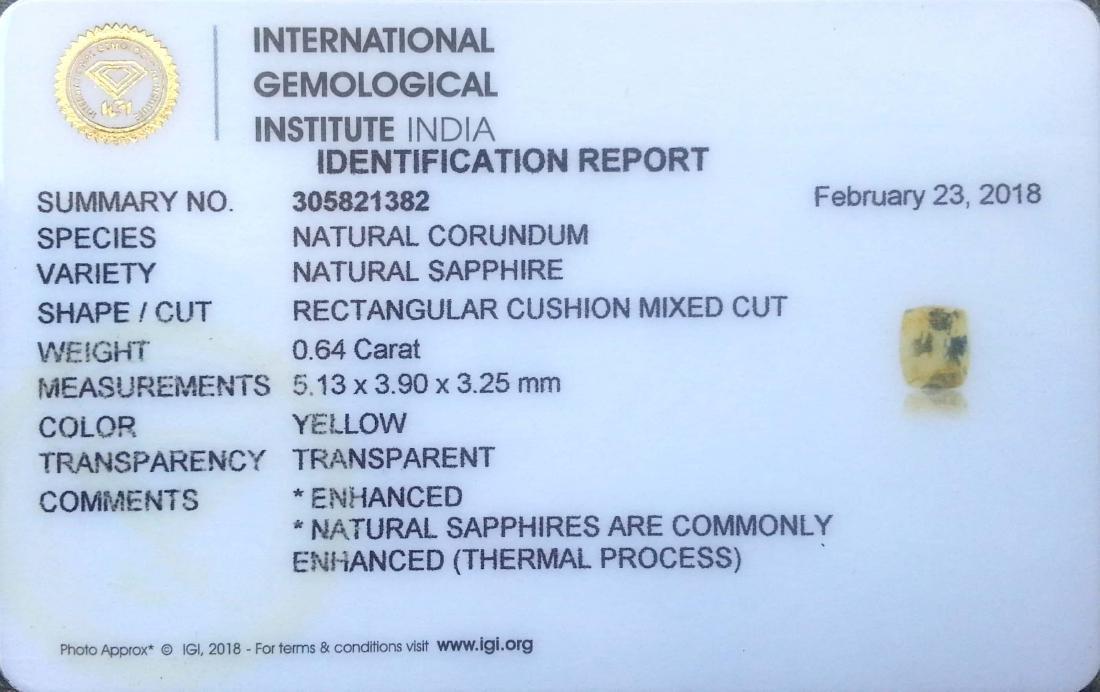 0.64 Ct Genuine IGI Certified Sri Lanka Yellow Sapphire - 2