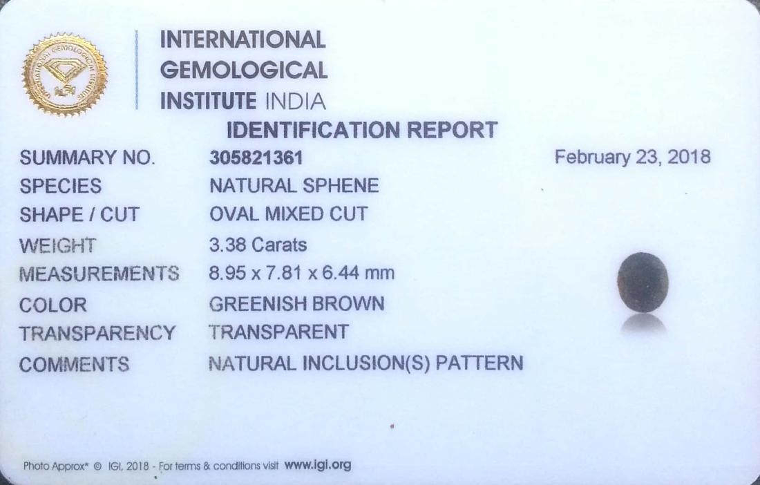 IGI Certified 3.38 Ct - Natural Loose Greenish Brown - 3