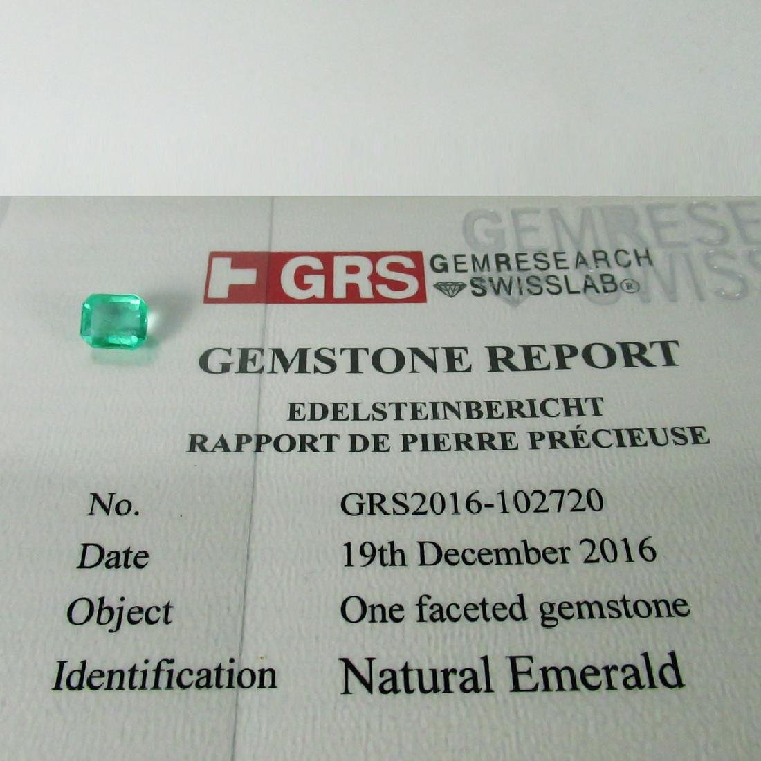 GRS Certified 2.36 Ct Genuine Colombian Emerald Top - 7