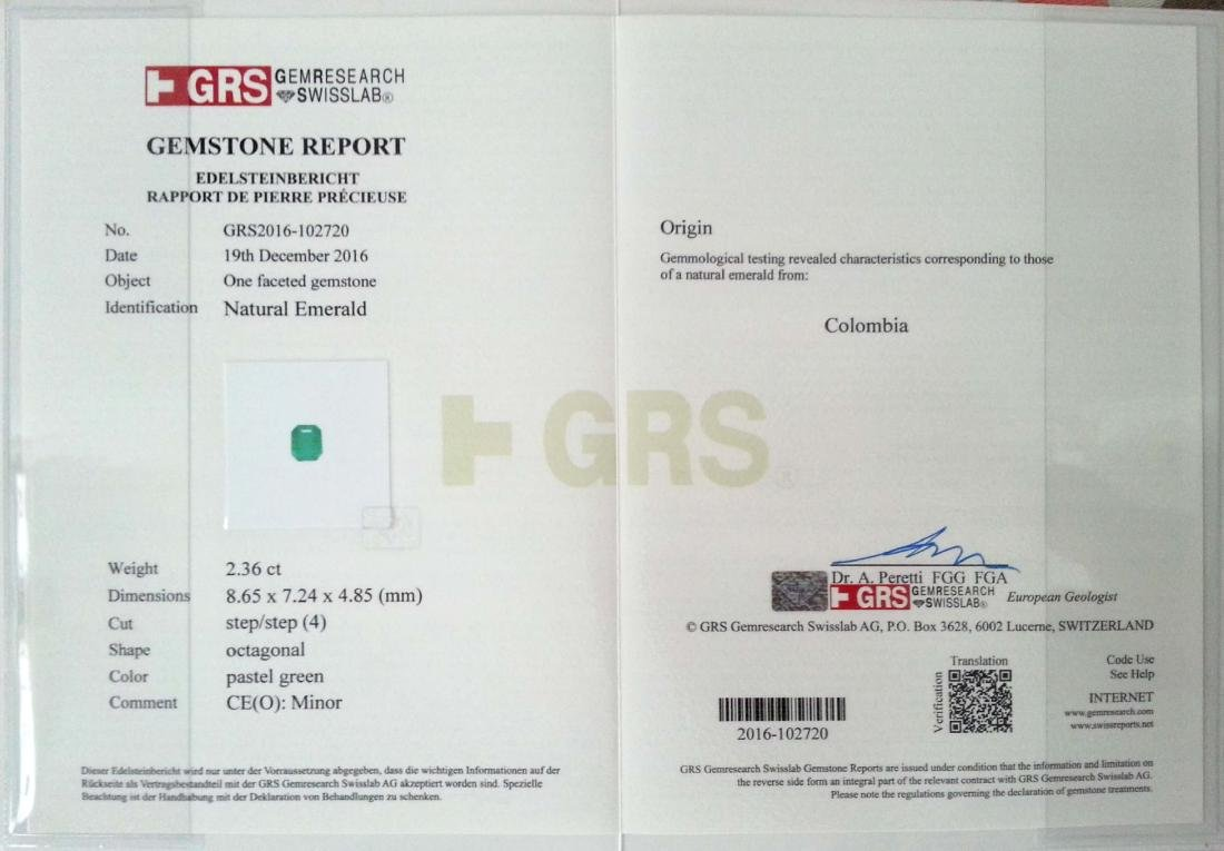 GRS Certified 2.36 Ct Genuine Colombian Emerald Top - 9