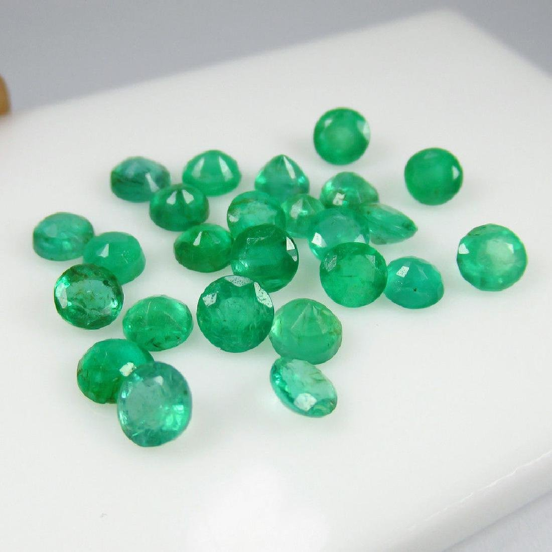 11.03 Ct Genuine 25 Loose Round Emeralds Lot Good Color