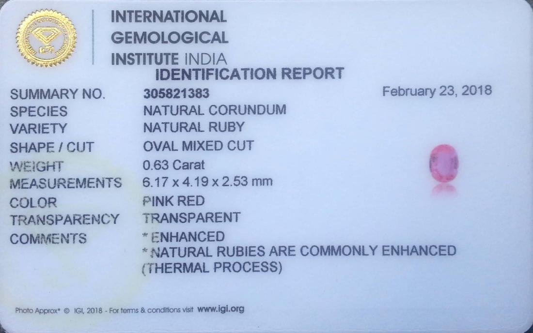 0.63 Ct Genuine IGI Certified Mozambique Pinkish Red - 2