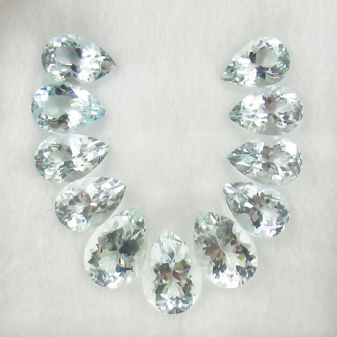 14.37 Ct Genuine Matching Pear cut Aquamarine Necklace