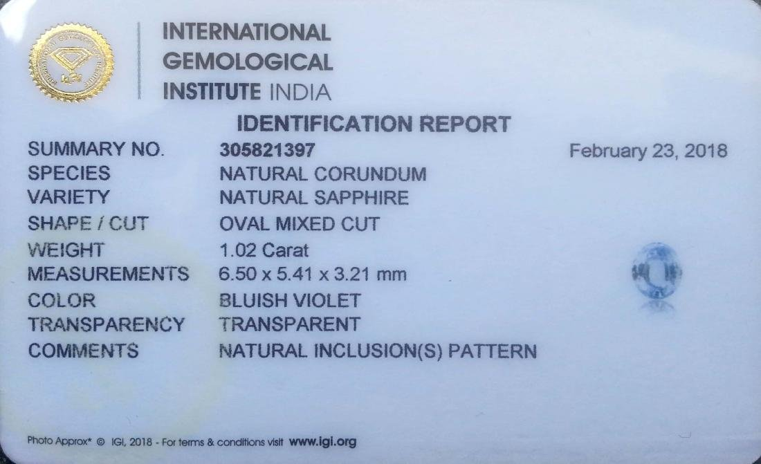 IGI Certified 1.02 Ct - Natural Loose Ceylon Unheated - 3