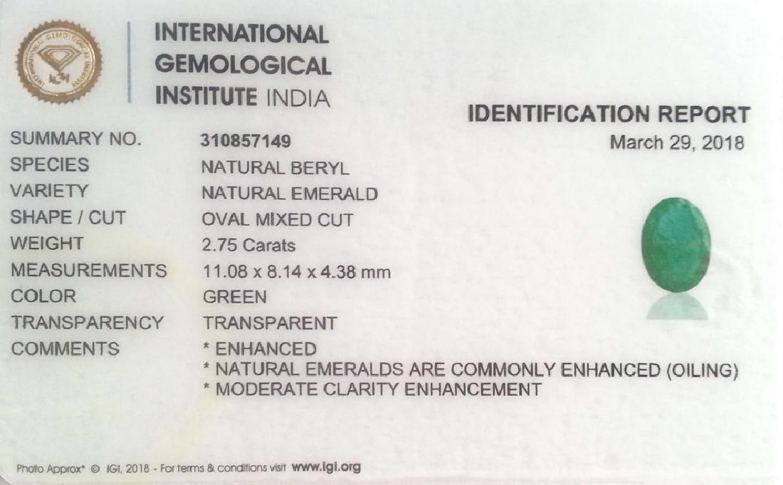 2.75 Ct IGI Certified Genuine Zambian Emerald Top Green - 2