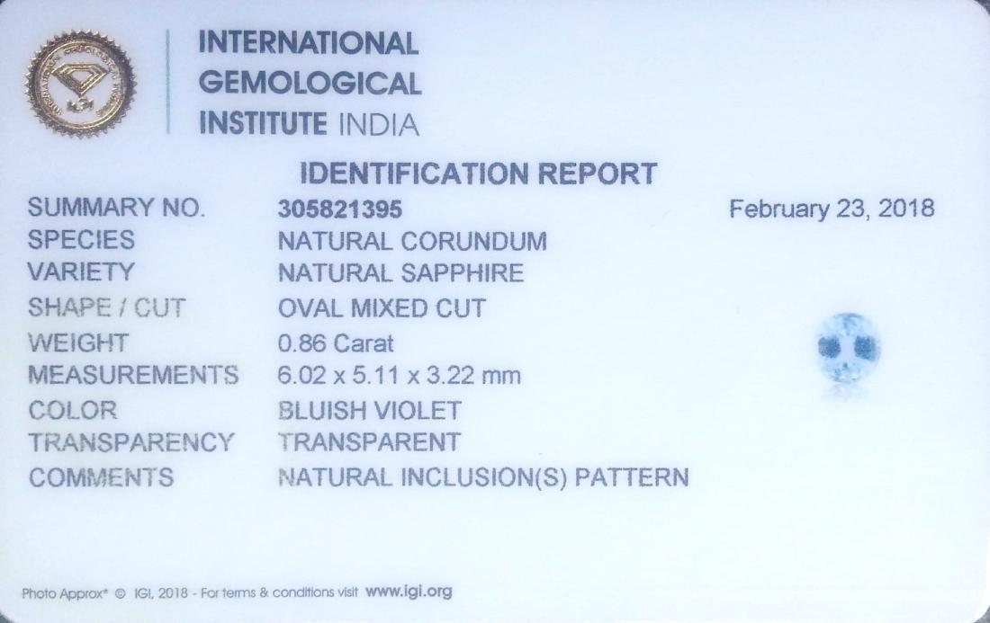 IGI Certified 0.86 Ct Genuine Unheated Sri Lankan Blue - 2
