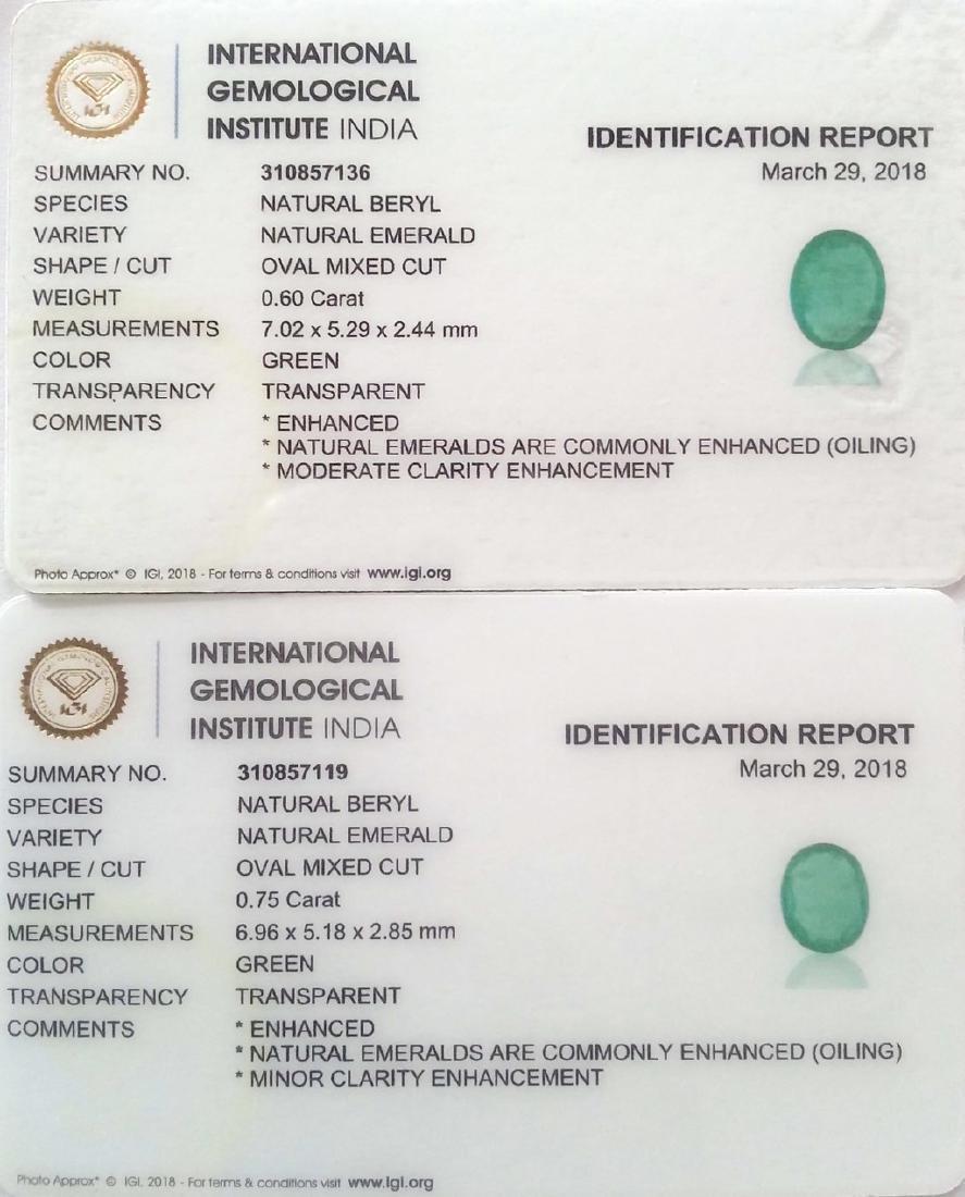1.35 Ct IGI Certified Genuine Zambian Emerald Matching - 3