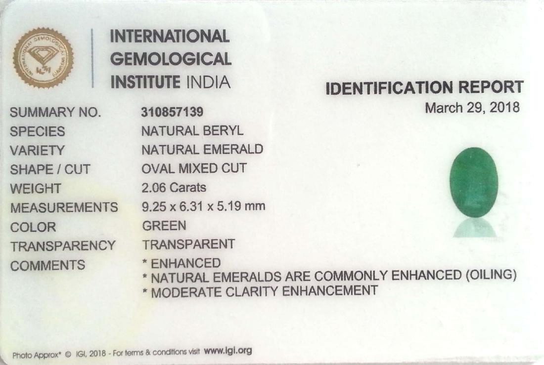 2.06 Ct IGI Certified Genuine Zambian Emerald Nice Oval - 2