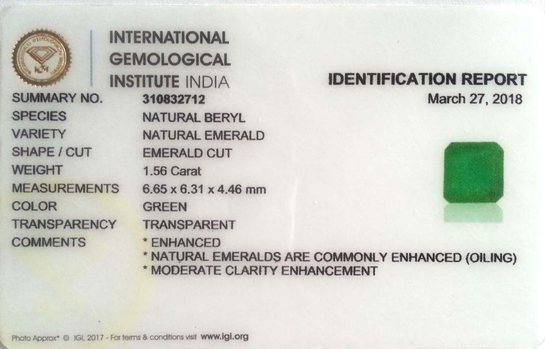 1.56 Ct IGI Certified Genuine Zambian Emerald Excellent - 2