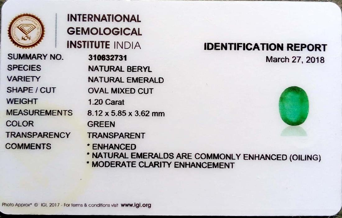 IGI Certified 1.20 Ct Genuine Zambian Emerald Top Class - 4