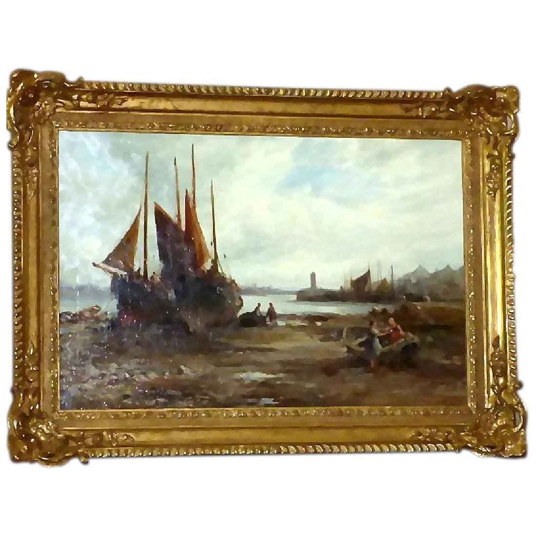Antique 19th Century Shore Scene with Beached Fishing