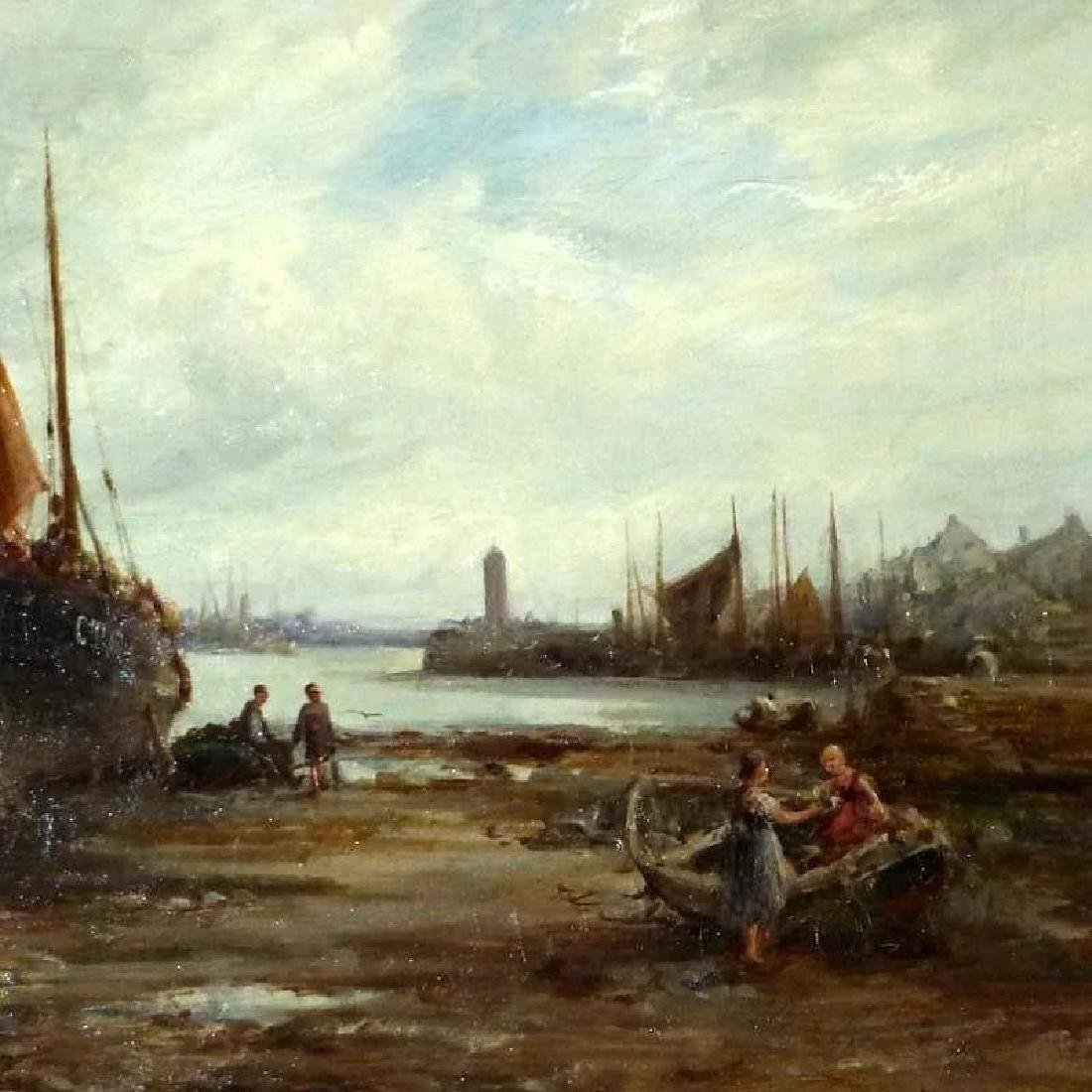 Antique 19th Century Shore Scene with Beached Fishing - 2