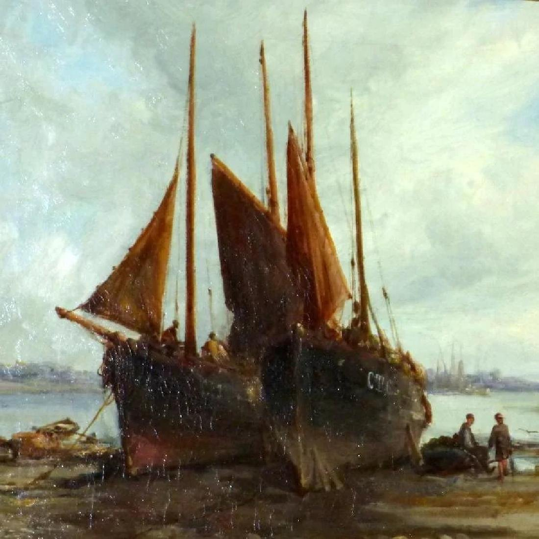 Antique 19th Century Shore Scene with Beached Fishing - 3