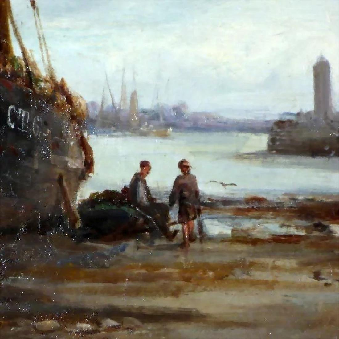 Antique 19th Century Shore Scene with Beached Fishing - 4