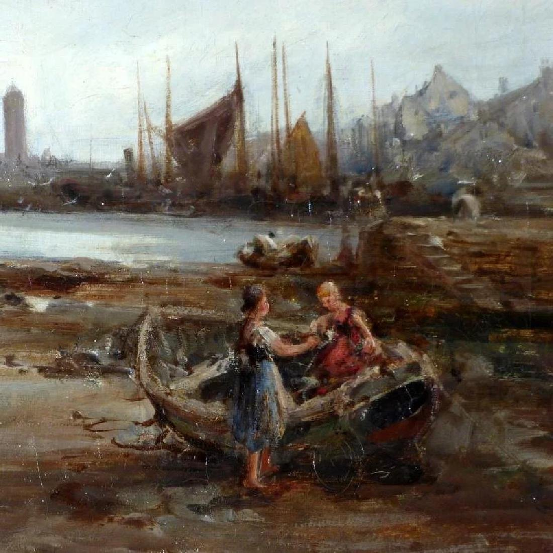 Antique 19th Century Shore Scene with Beached Fishing - 5