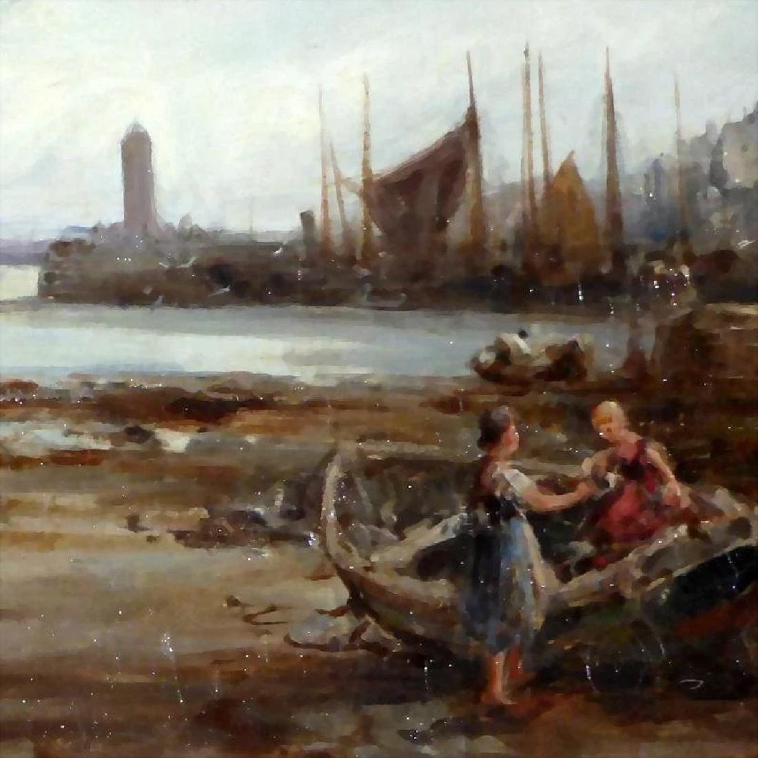 Antique 19th Century Shore Scene with Beached Fishing - 6