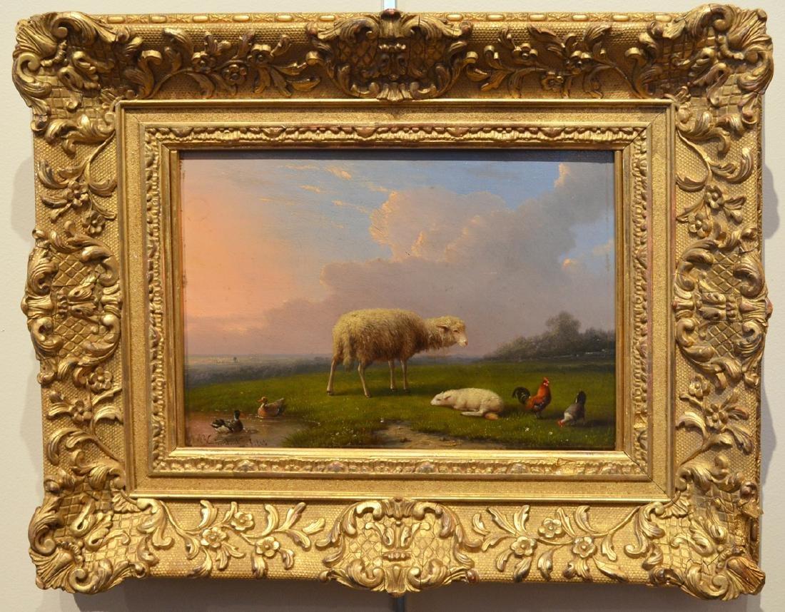 Francois van Severdonck Oil Painting Lambs and Sheep