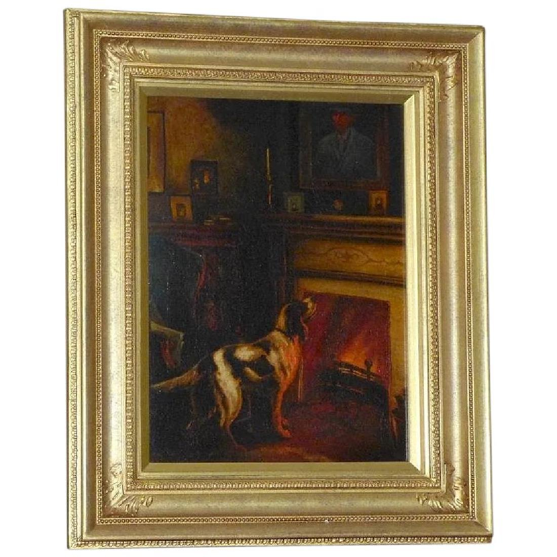 Antique Victorian Oil Painting of a Dog beside a