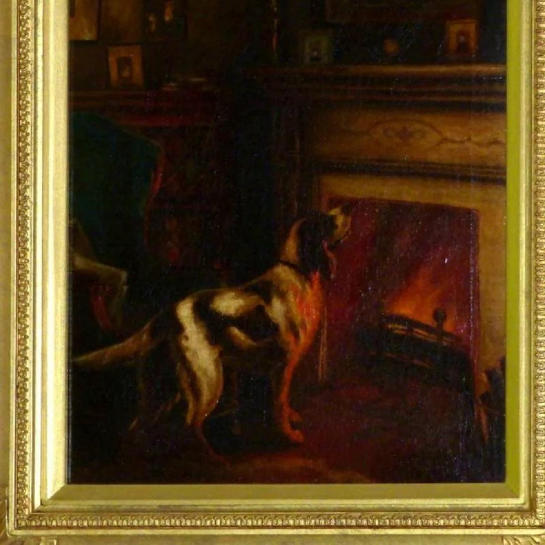 Antique Victorian Oil Painting of a Dog beside a - 2