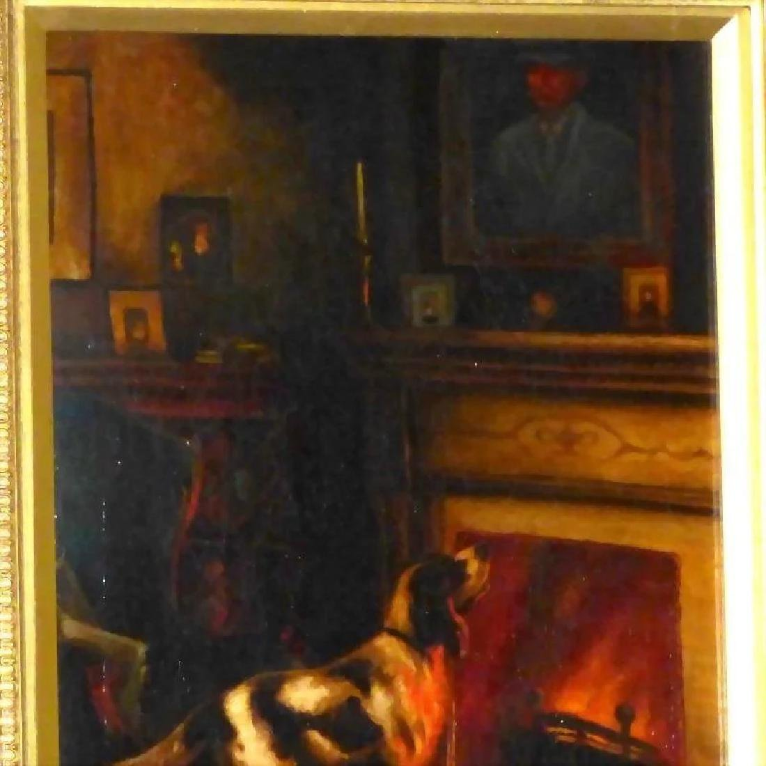 Antique Victorian Oil Painting of a Dog beside a - 4