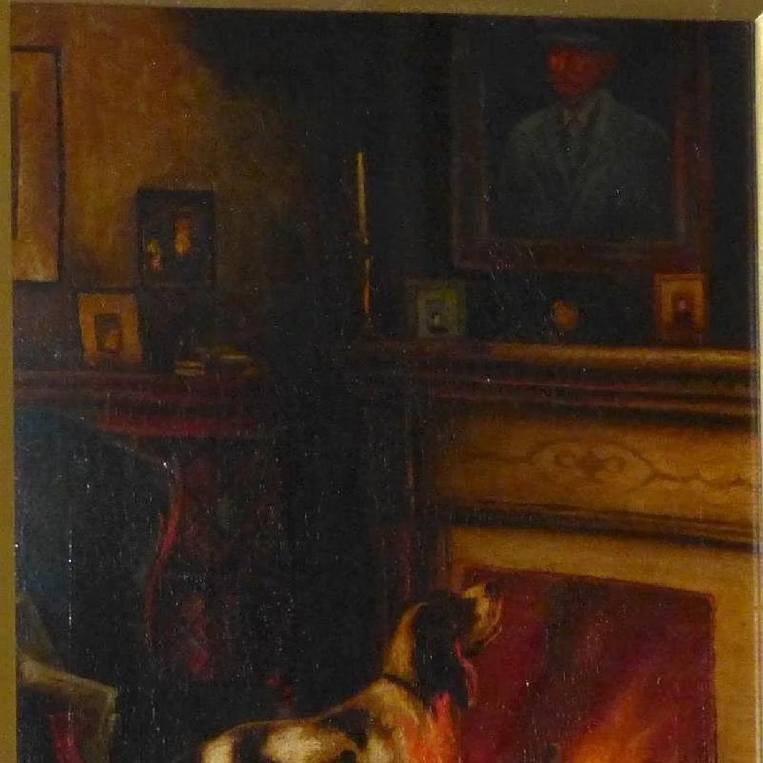 Antique Victorian Oil Painting of a Dog beside a - 6