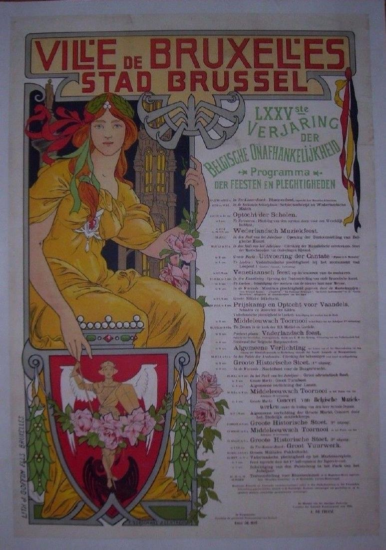 Vill'e De Bruxell'es Stad Brussel Belgian Poster