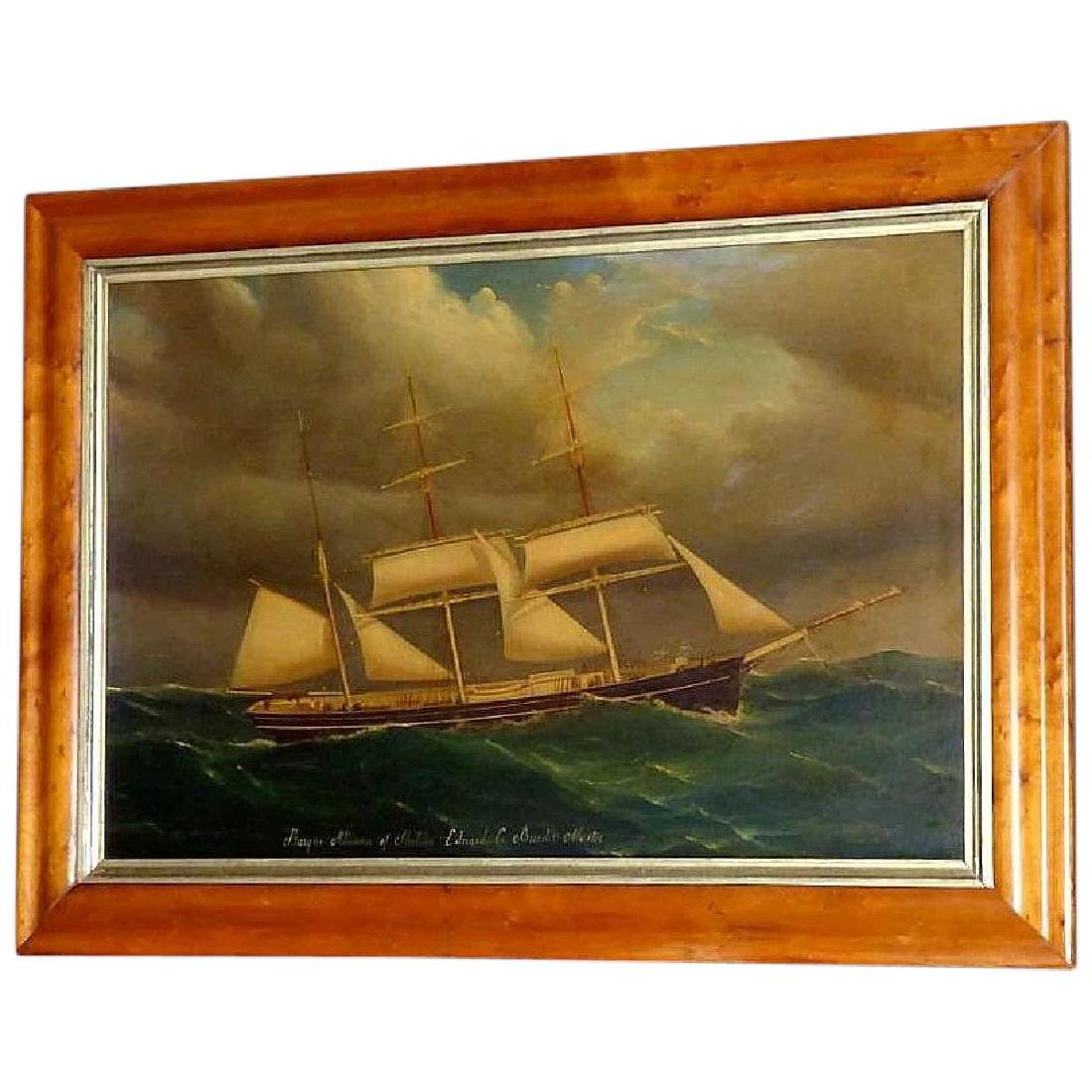 Antique Large 19th Century Portrait of the Barque,