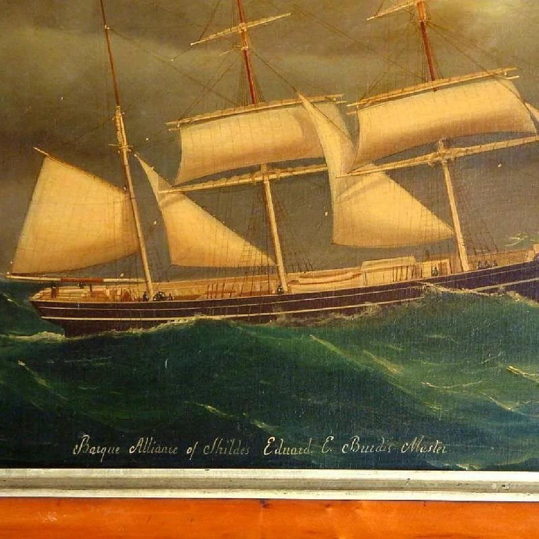 Antique Large 19th Century Portrait of the Barque, - 3