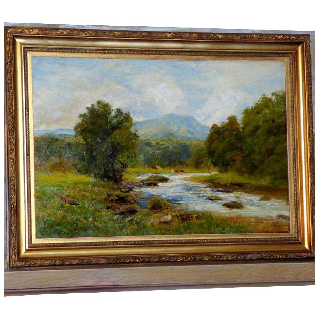 Antique Large Bucolic River Landscape with Cattle, by