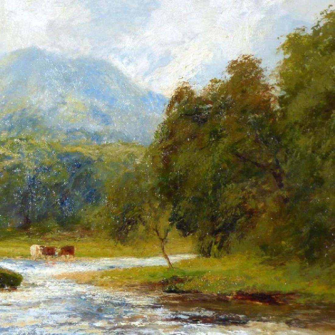 Antique Large Bucolic River Landscape with Cattle, by - 3