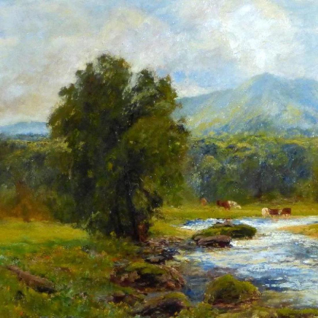 Antique Large Bucolic River Landscape with Cattle, by - 4