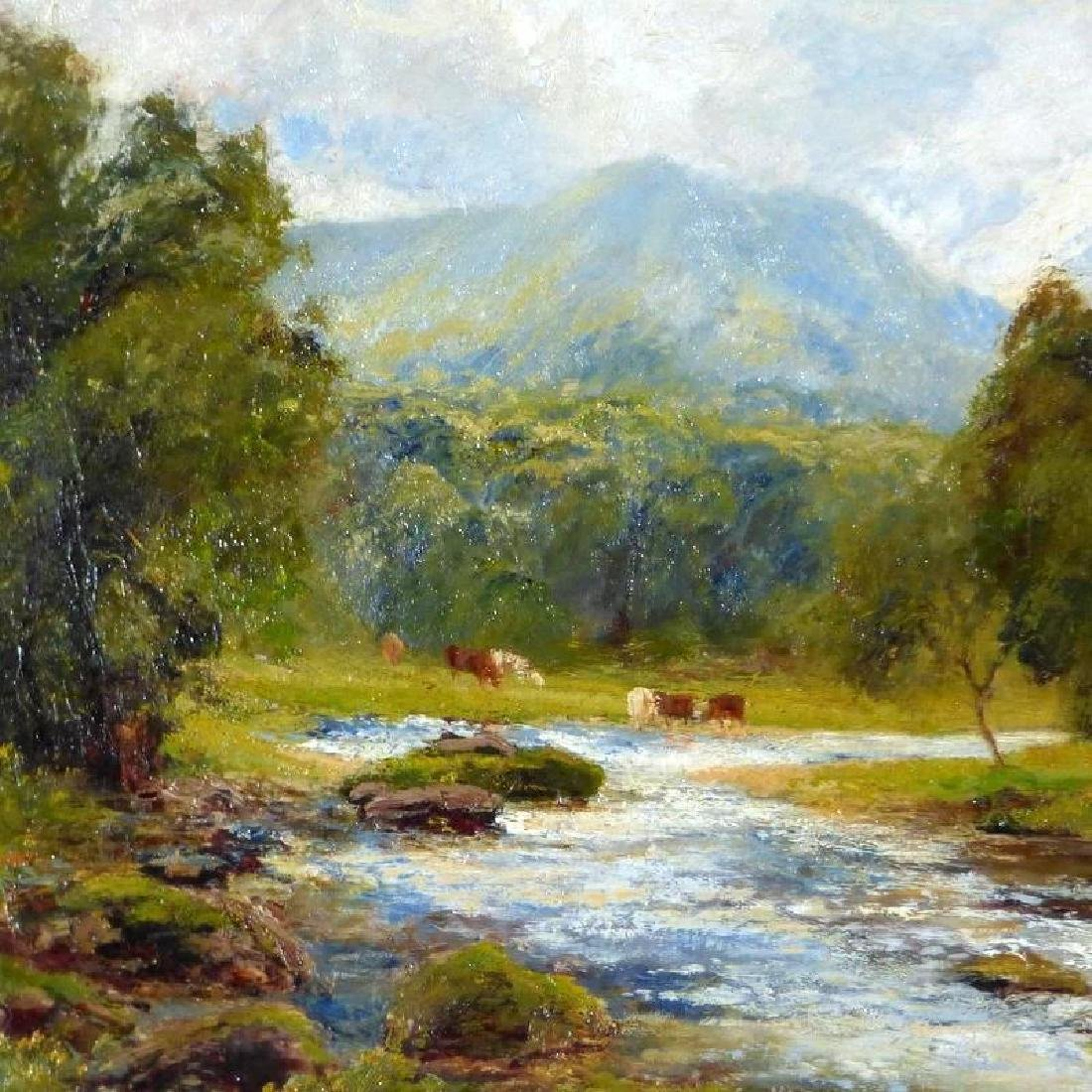 Antique Large Bucolic River Landscape with Cattle, by - 5