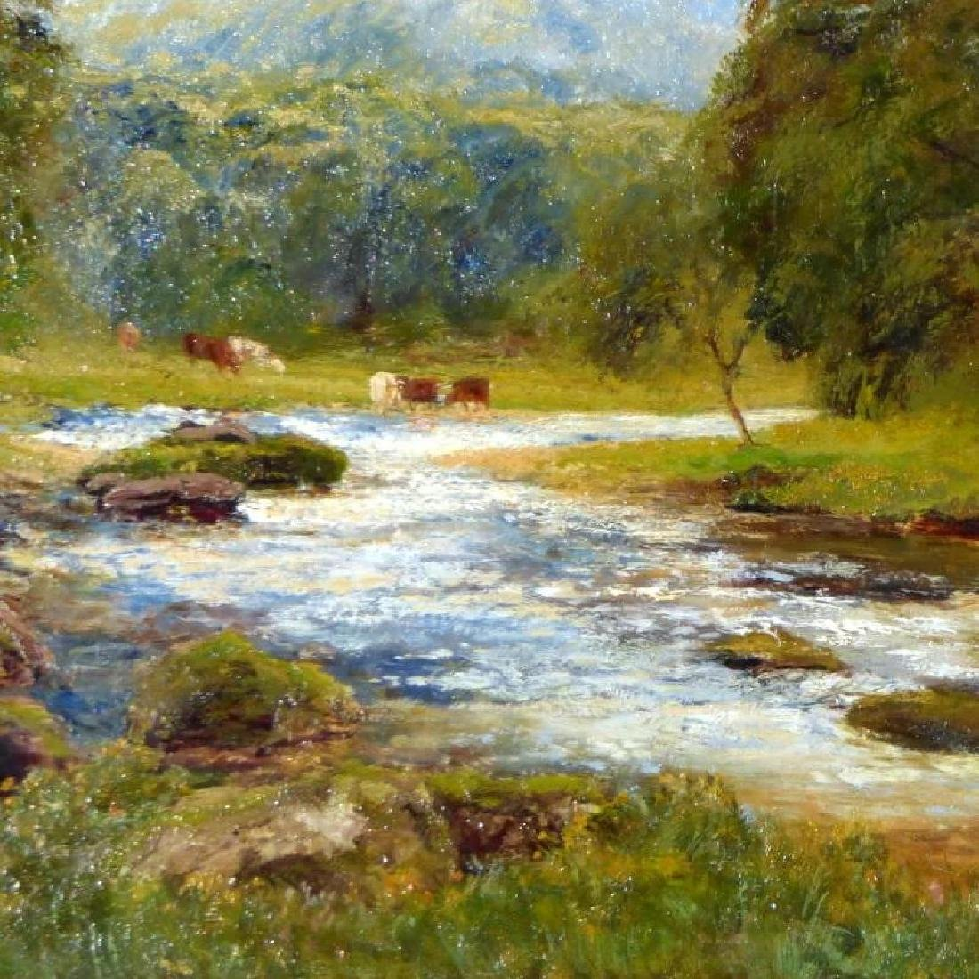 Antique Large Bucolic River Landscape with Cattle, by - 6