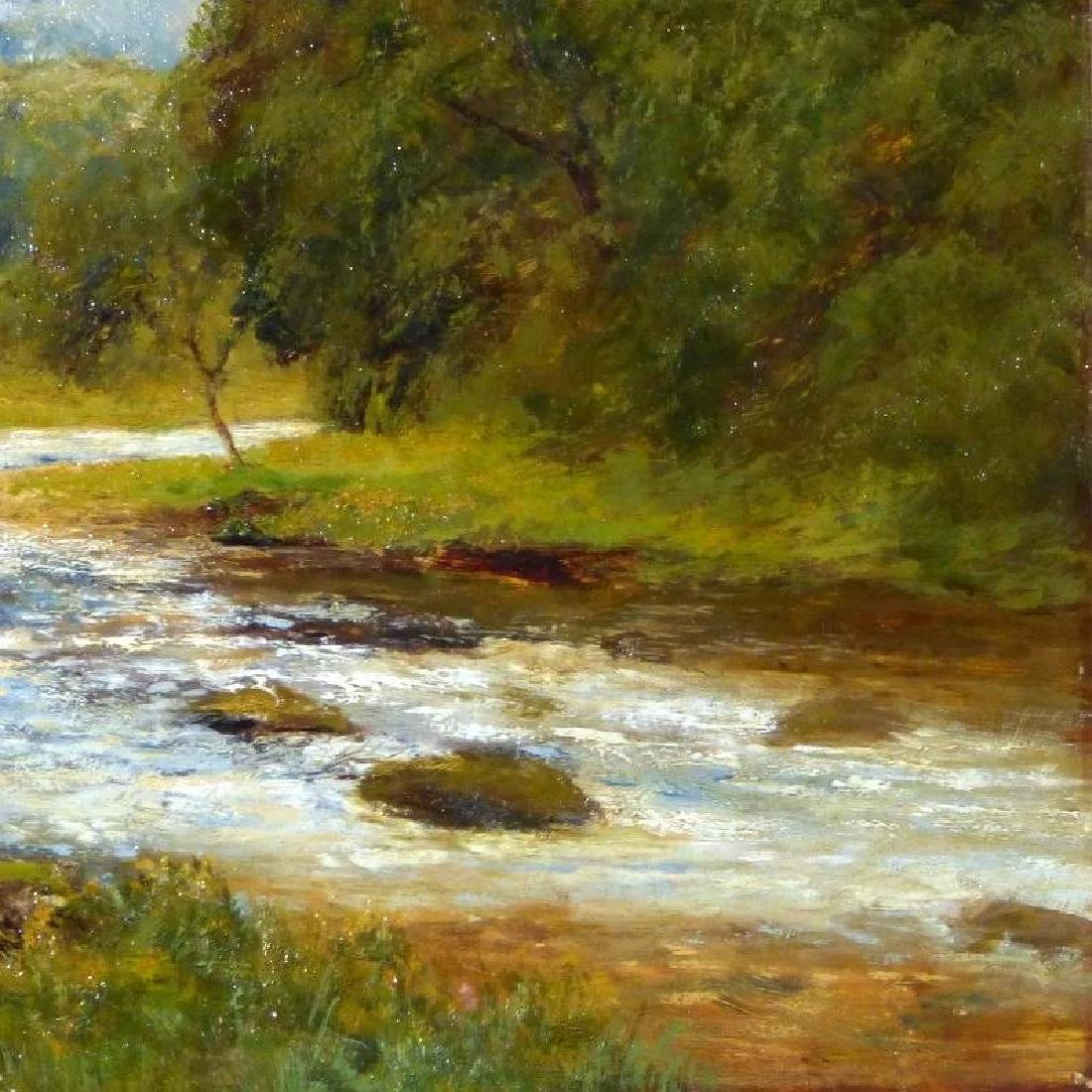 Antique Large Bucolic River Landscape with Cattle, by - 7