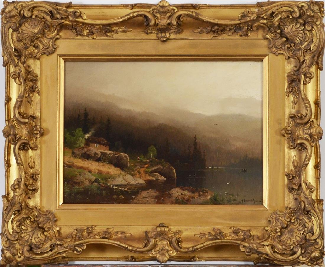 Gorg Anton Rasmussen Oil Painting Cabin by the Fjord