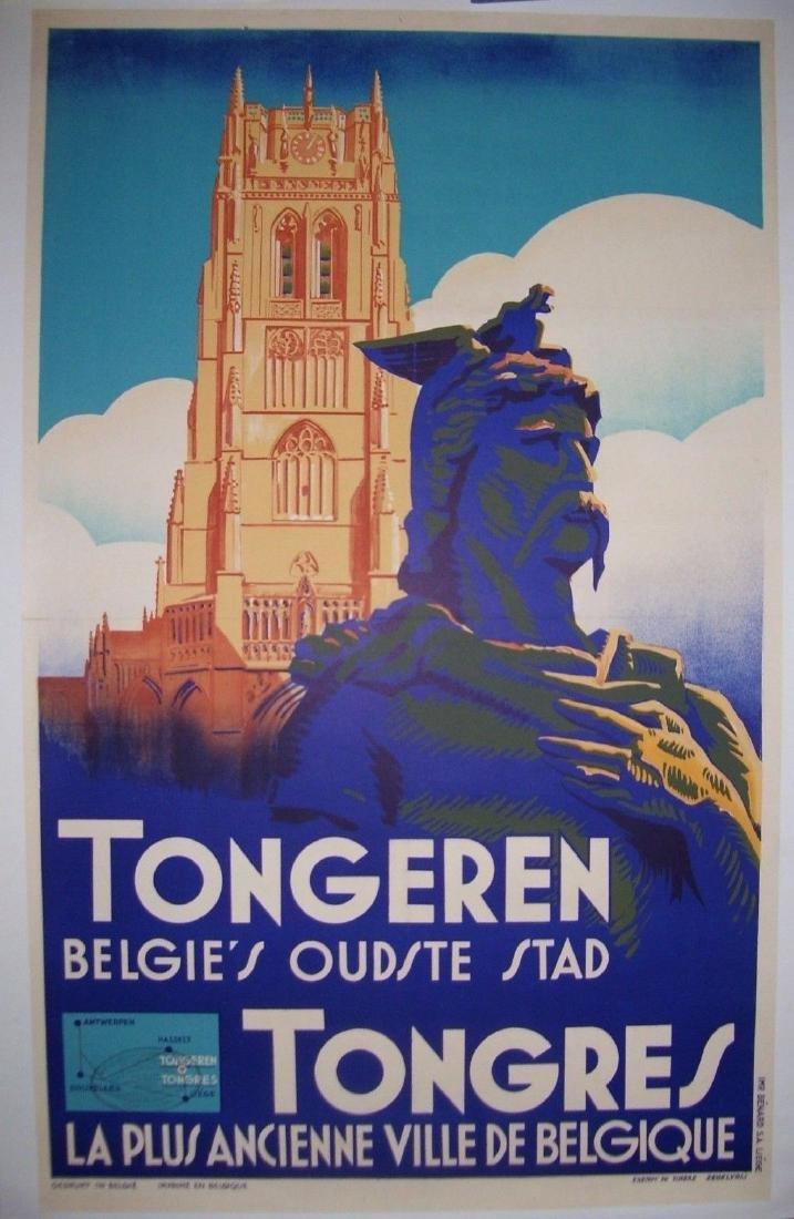 Vintage Art Deco Belgium Travel Poster Tongres Tongeren