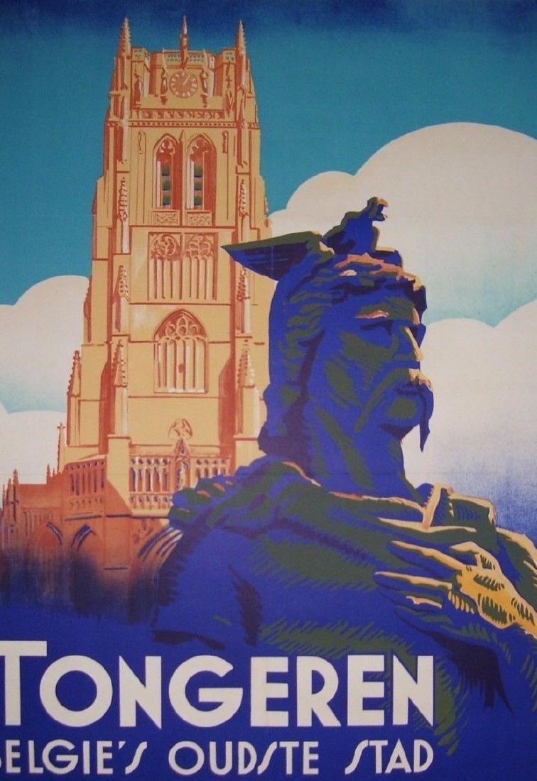 Vintage Art Deco Belgium Travel Poster Tongres Tongeren - 2