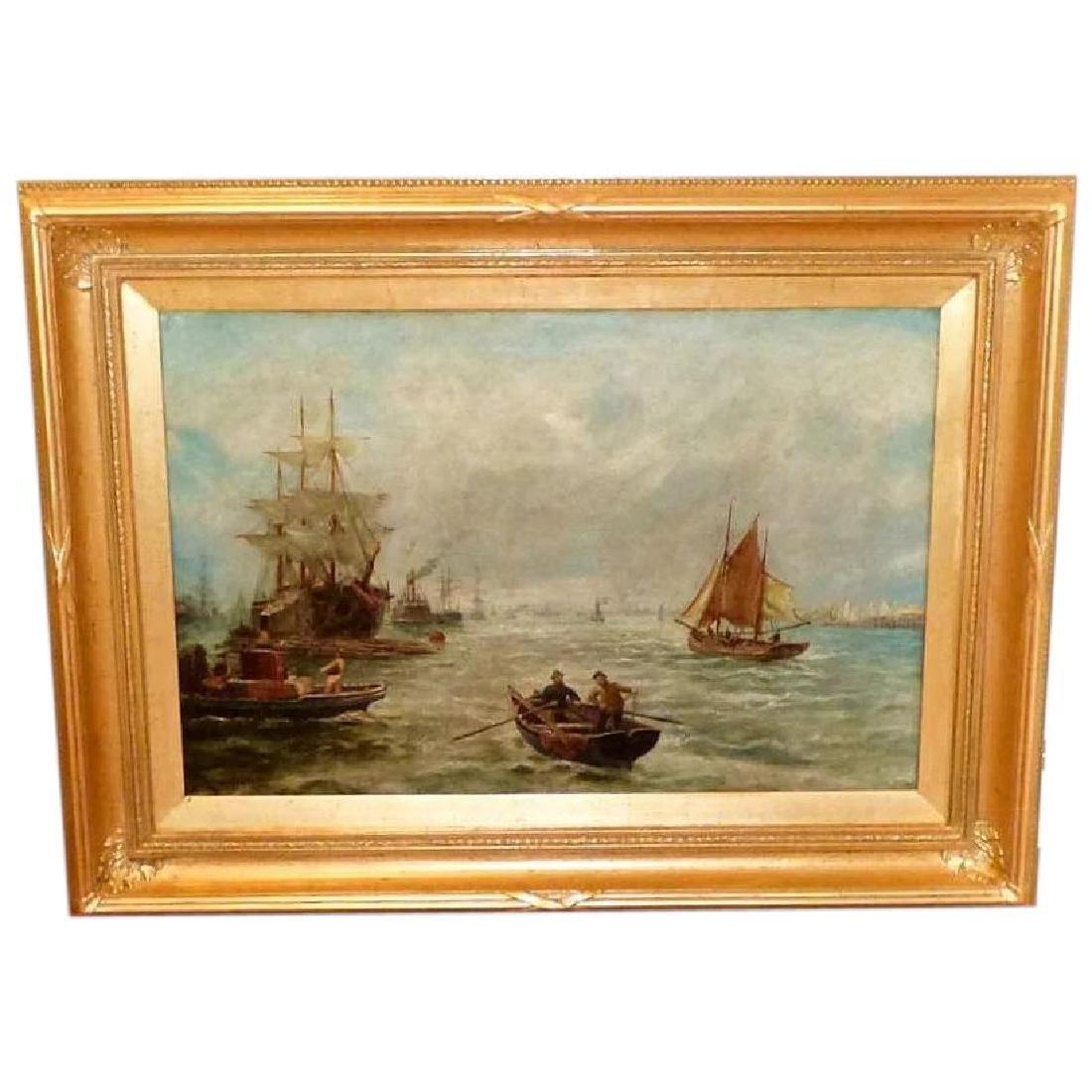Antique Shipping Scene on the Tyne River, by Bernard B.