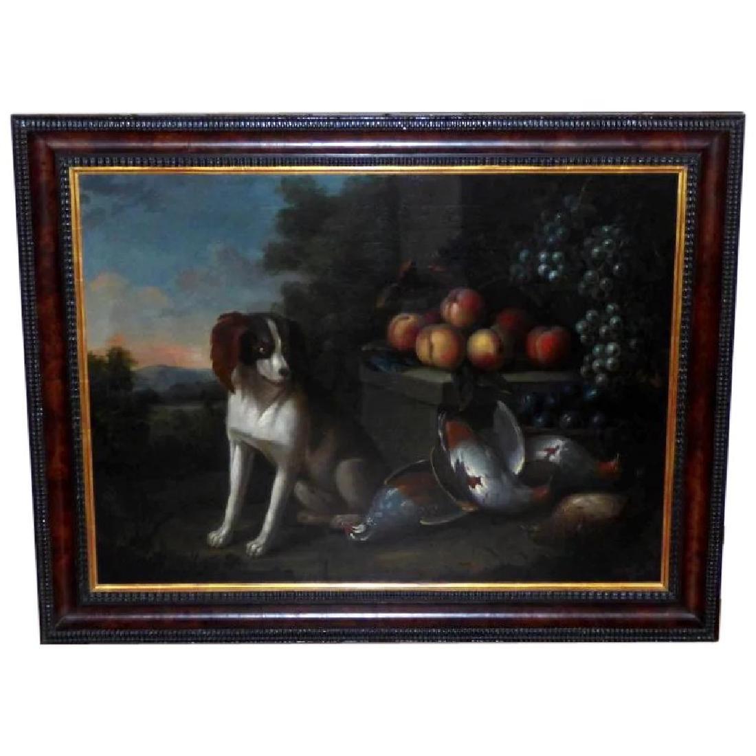 Antique Large 18th Century Dutch Still Life of a Dog