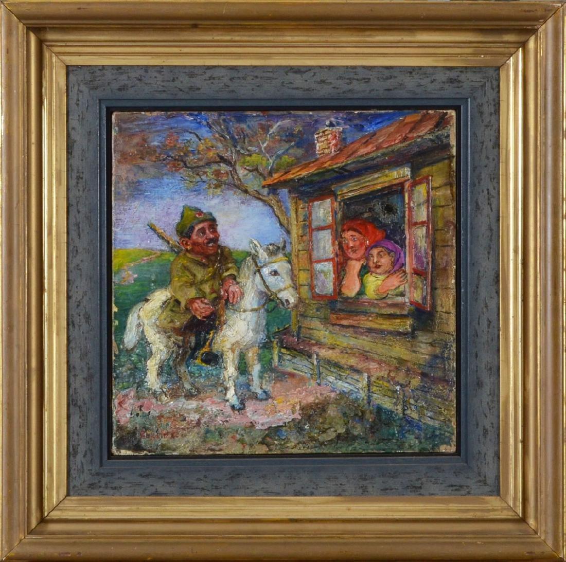 David Burliuk painting Russian Soldier on a Horse