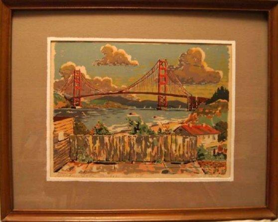 Vintage HARRY REEKS, Golden Gate Bridge - SF, silk