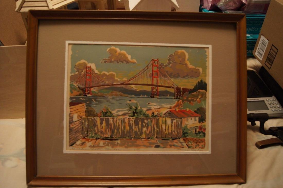 Vintage HARRY REEKS, Golden Gate Bridge - SF, silk - 5