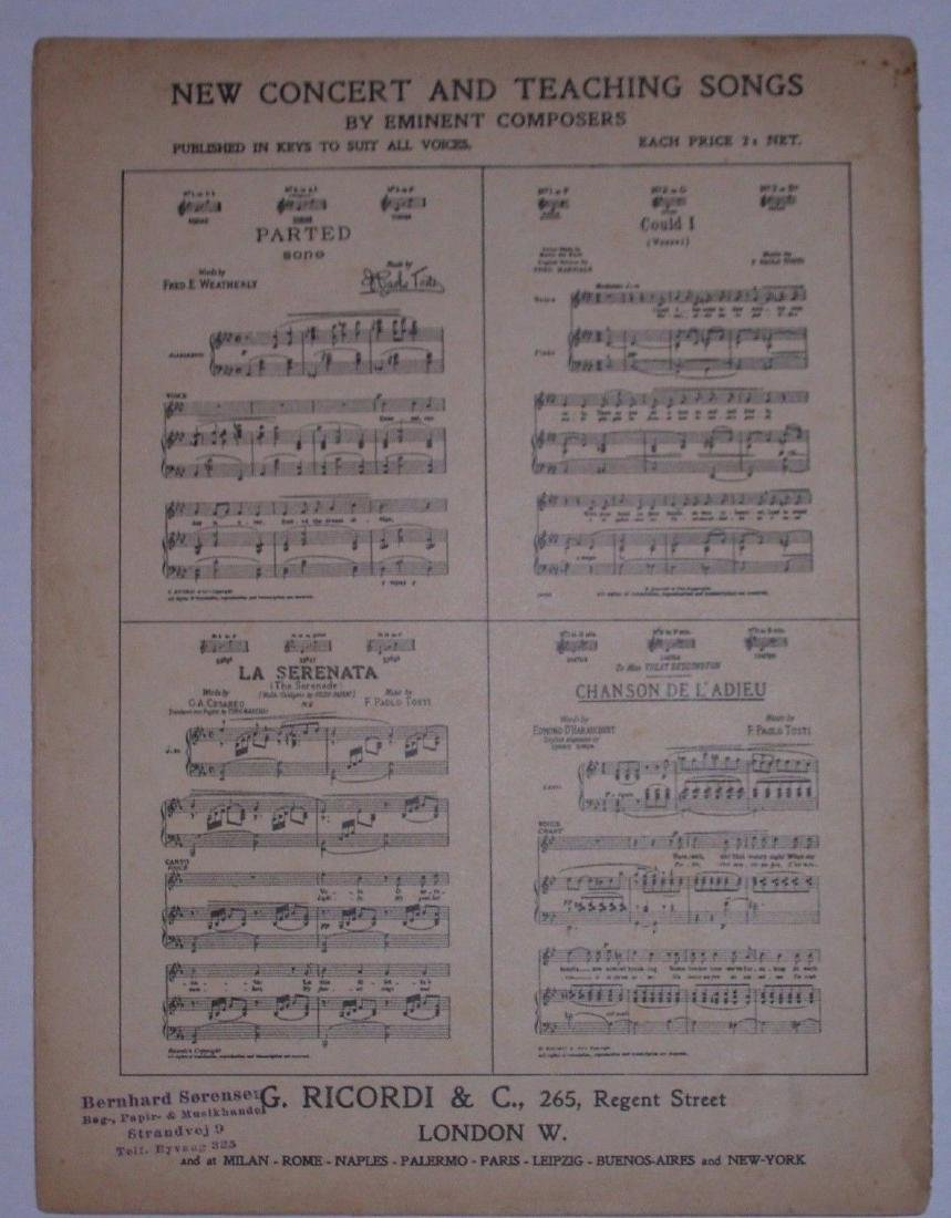 Tosca Opera Sheet Music. Art by Hohenstein - 4