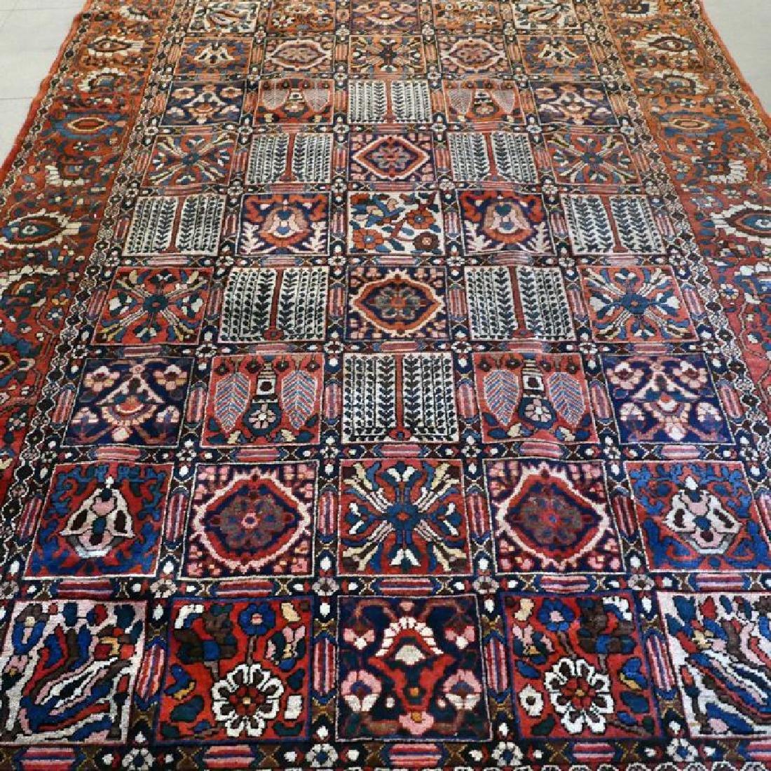 Hand Knotted Vintage Garden Tile Bakhtiar Rug 10x7 - 5