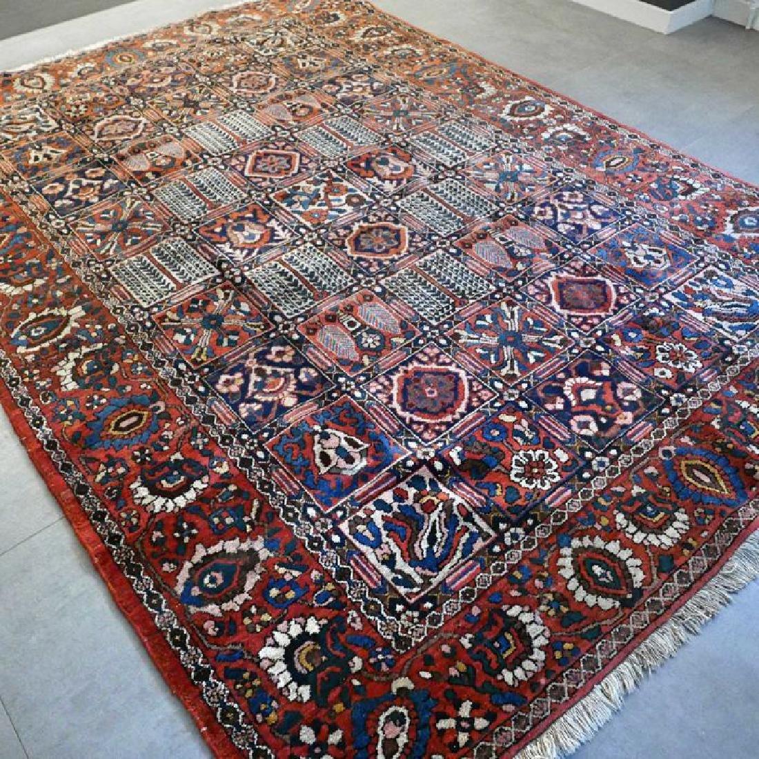 Hand Knotted Vintage Garden Tile Bakhtiar Rug 10x7 - 6