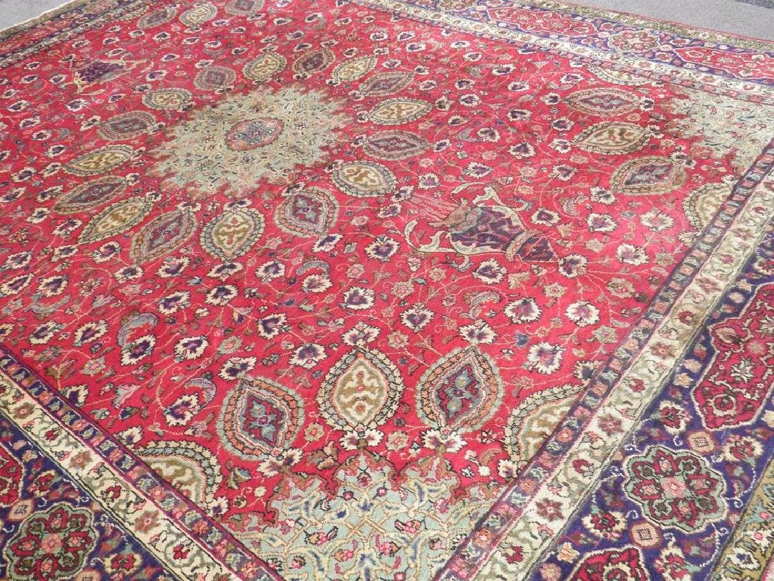 Semi Antique Persian Tabriz Rug 12.6x9.7 - 2